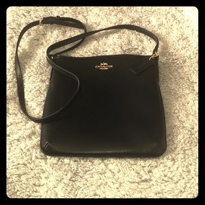 Coach small black leather cross body